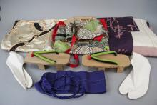Collection Japanese Silk Textiles & Wood Sandals