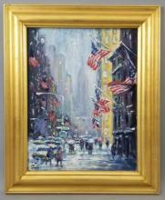 Philip Corley Oil on Board Manhattan NY in Winter