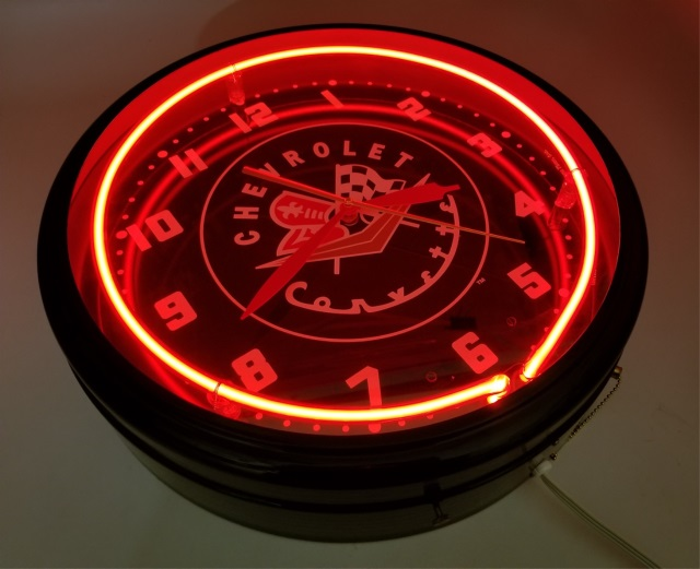 Electric Light Up Wall Clock For Gm Chevy Corvette
