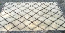 Hand Made Wool Beni Ourain Rug w X Cross Design