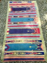 Turquoise and Pink Vintage Striped Dhurrie Rug