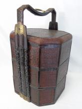 Vintage Asian Stacking Storage Basket