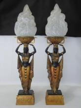 Pair Egyptian Revival Style Figural Table Lamps