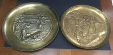Two Vintage Bronze & Brass Asian Charger Plates