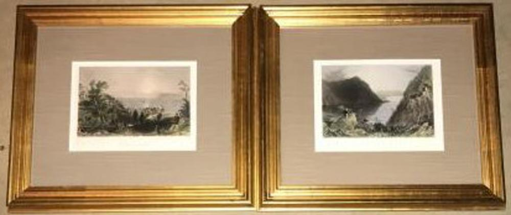 Pair of Antique 19th C Hudson River Engravings