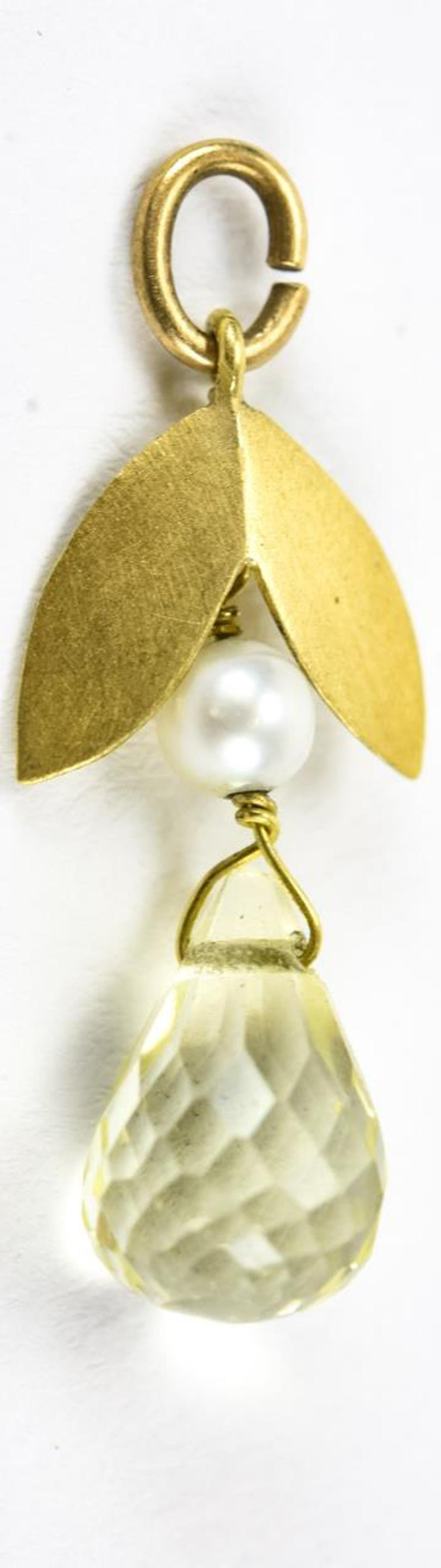Estate 18kt Yellow Gold Citrine & Pearl Pendant