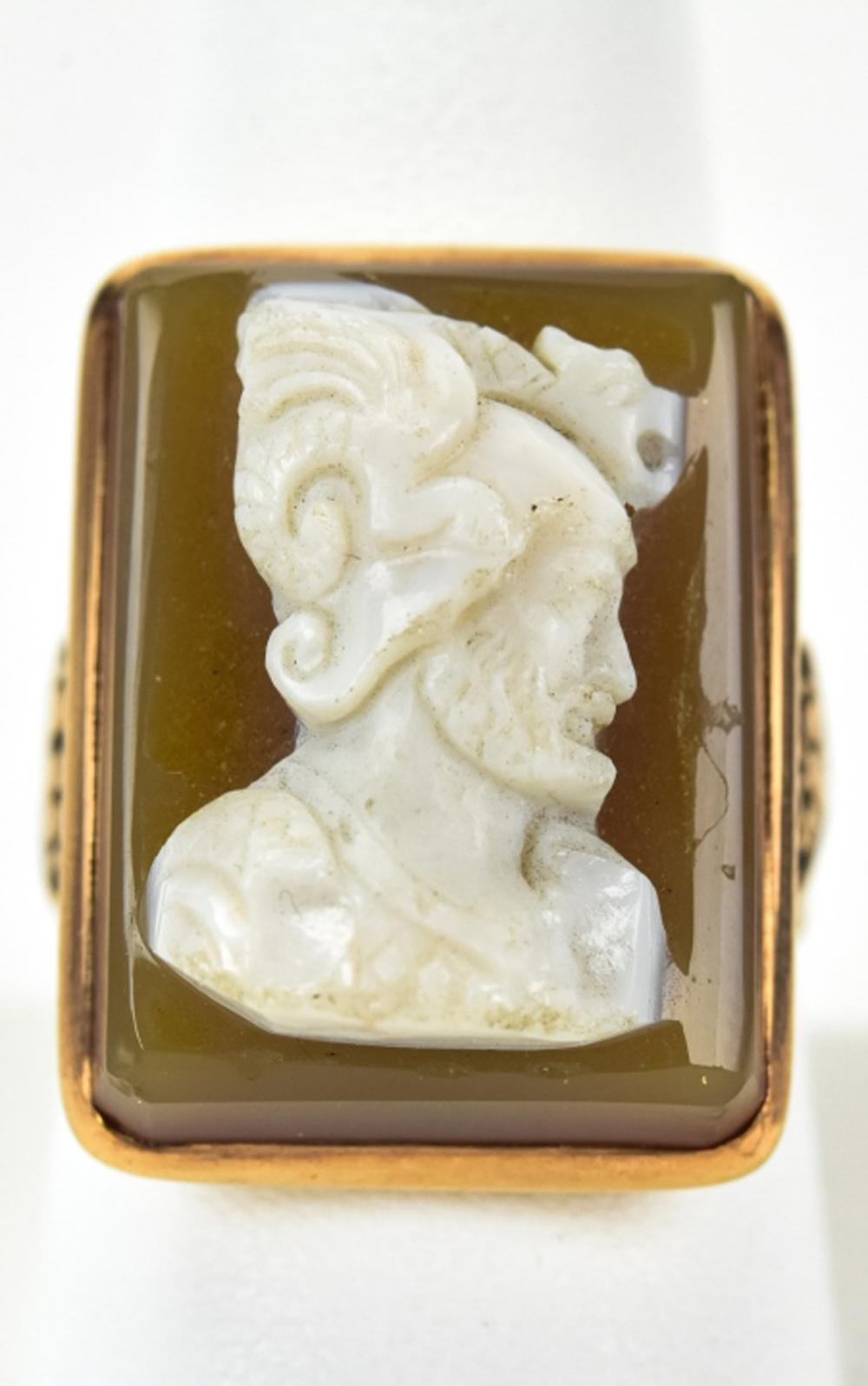 Antique Gold & Hardstone Large Scale Cameo Ring