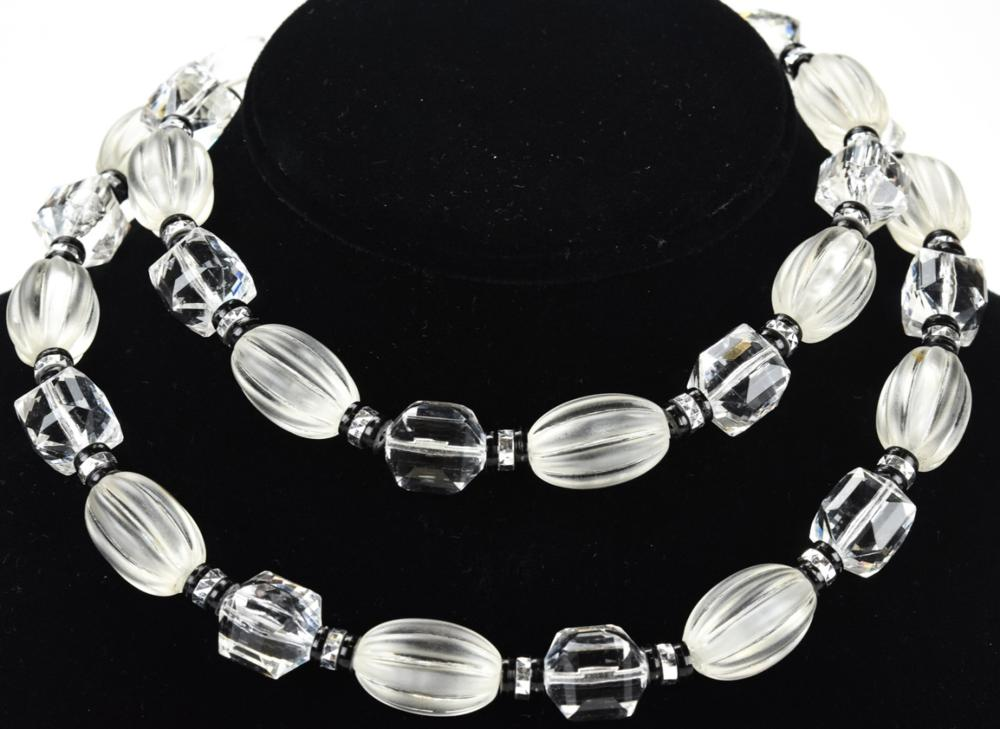 Vintage Lucite & Rhinestone Beaded Necklace