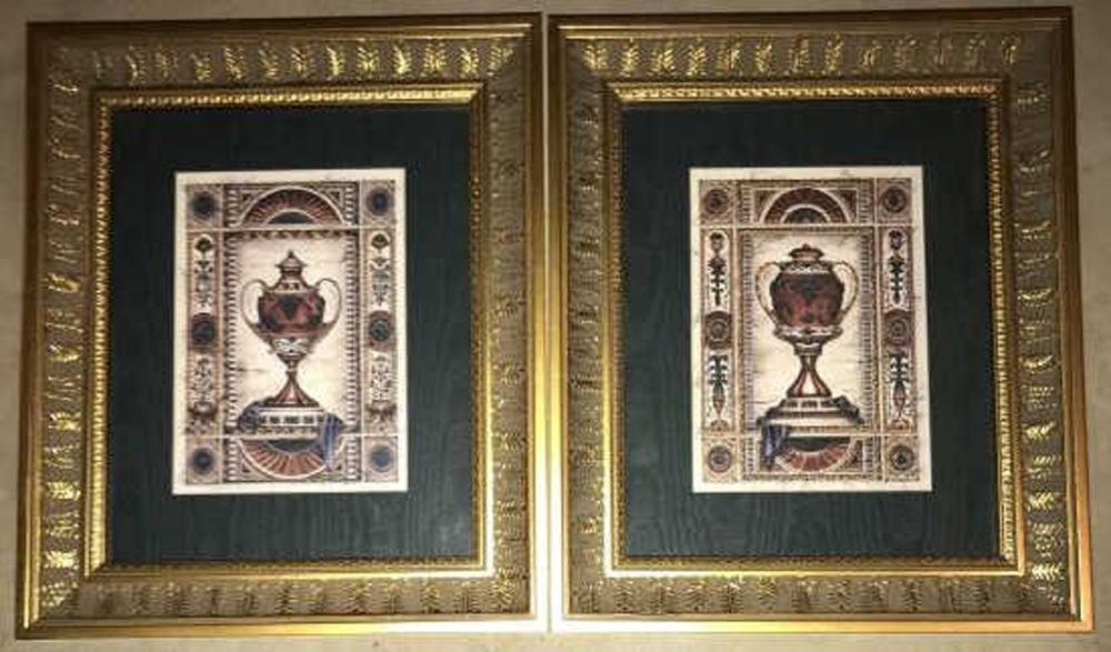 Pair of Gilt Framed Neo Classical Urn Prints
