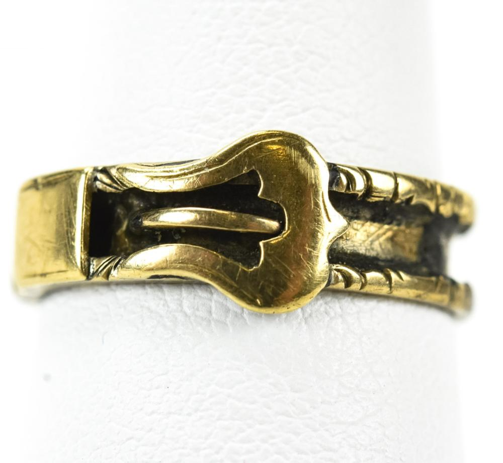 Antique 19th C 10kt Gold Buckle Form Ring