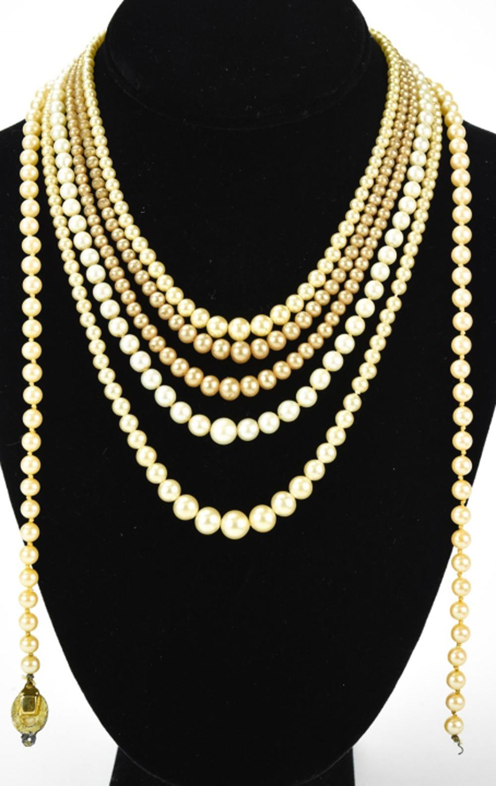 Collection of Vintage Faux Pearl Necklaces