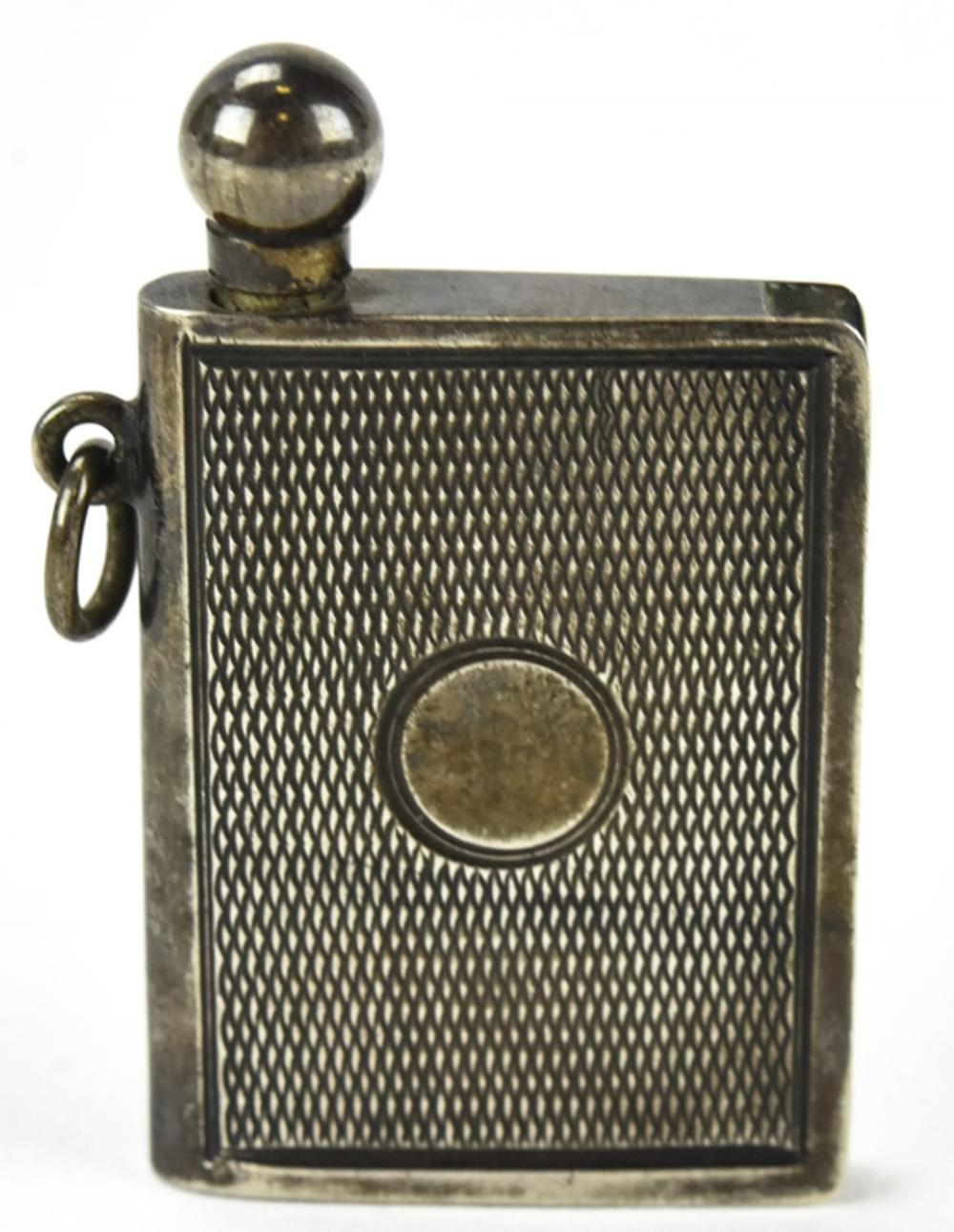 Antique 800 Silver Book Form Perfume Flask Pendant