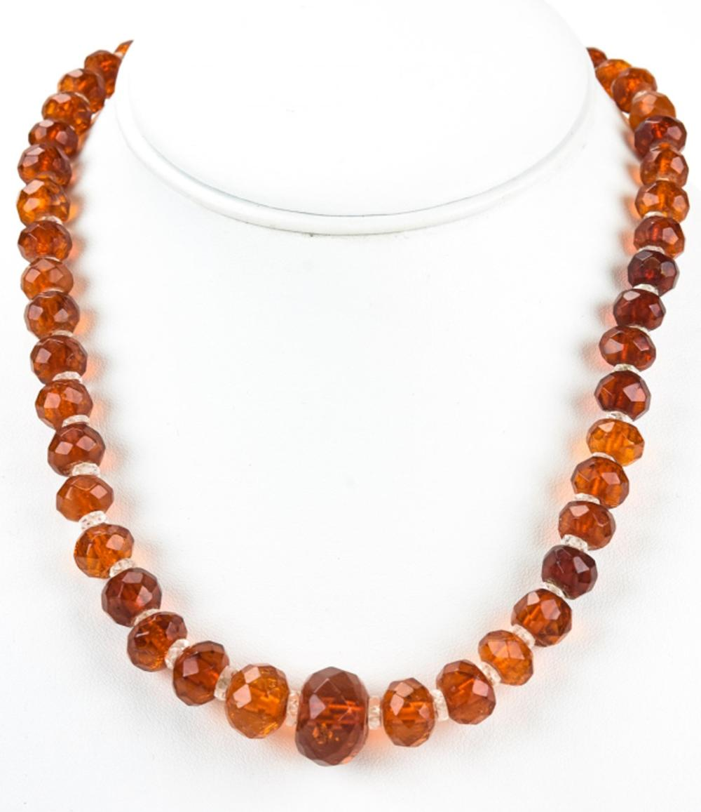 Antique Faceted Amber & Crystal Bead Necklace