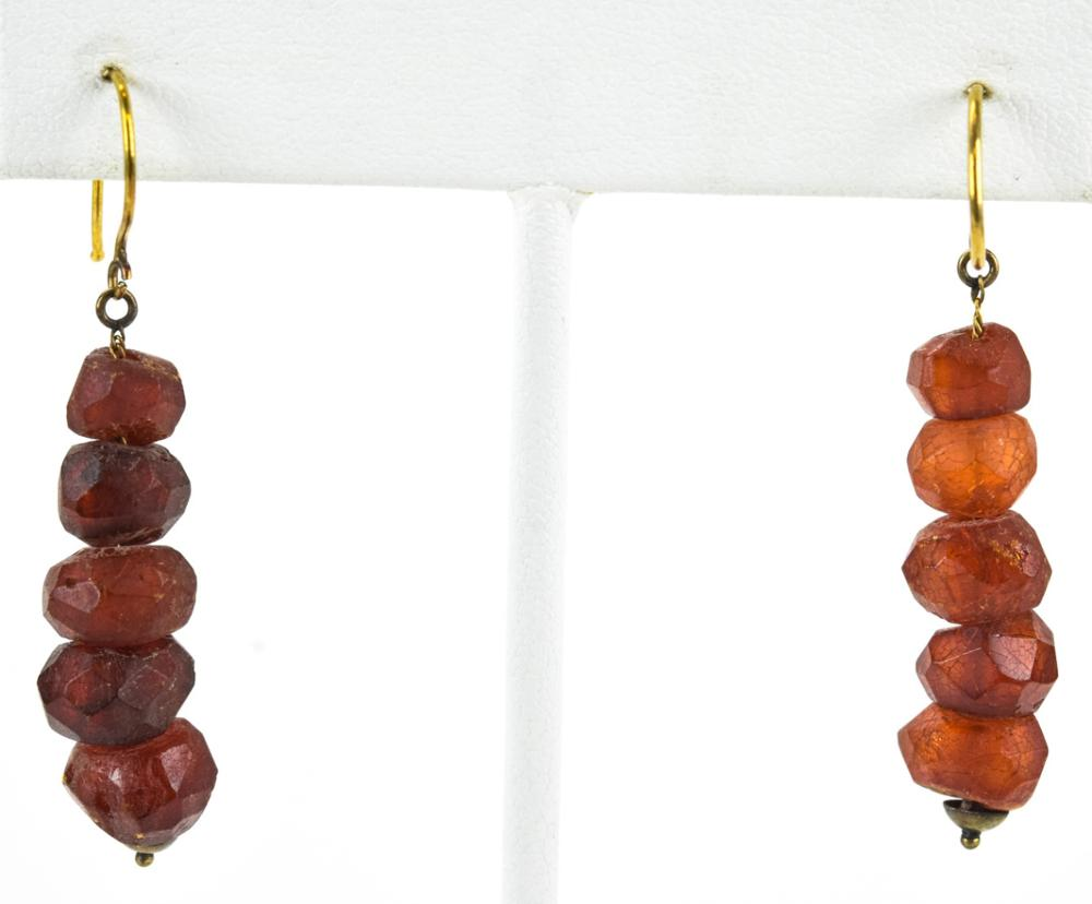 Pair Antique Faceted Amber Earrings