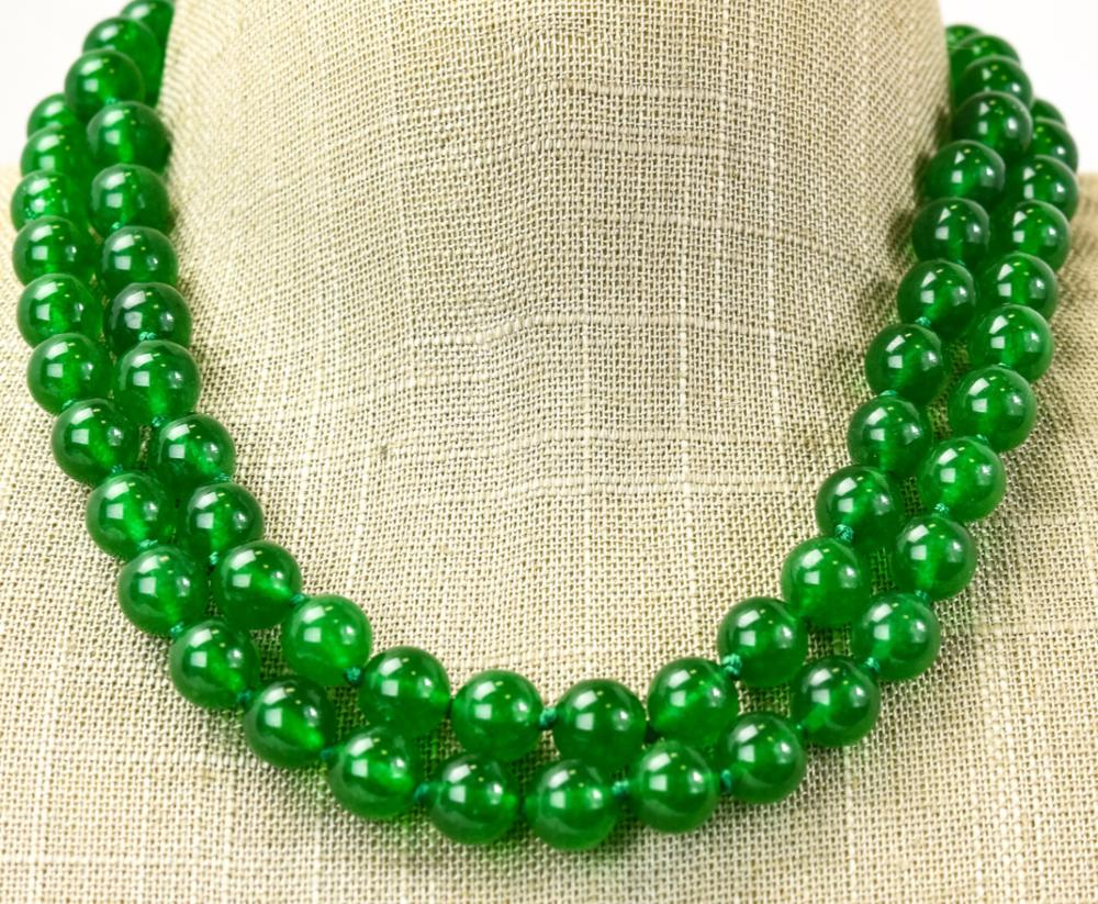 Pair of Hand Knotted Green Jade Necklace Strands