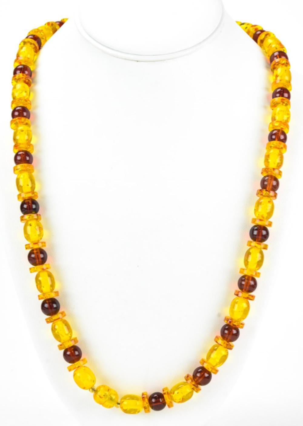 Vintage Acrylic Faux Amber Beaded Necklace