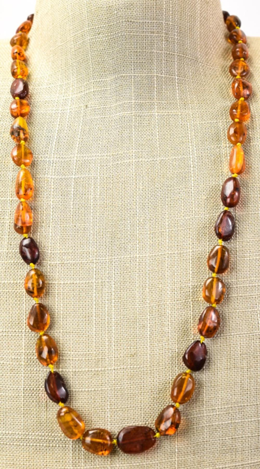 26 Inch Hand Knotted Stand of Amber Beads
