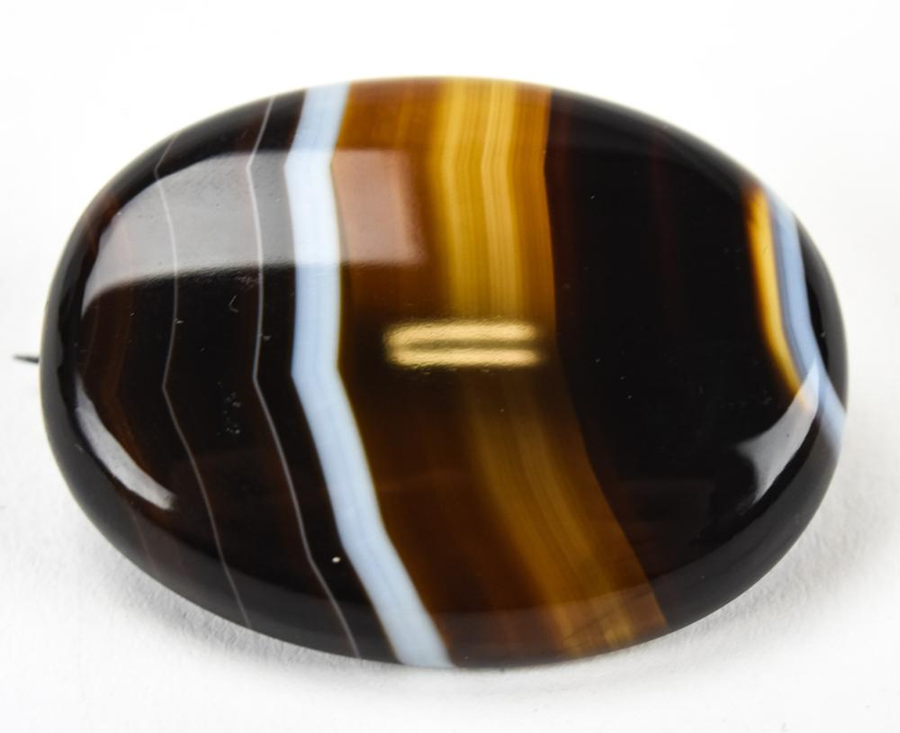 Antique 19th C Banded Agate Cabochon Brooch