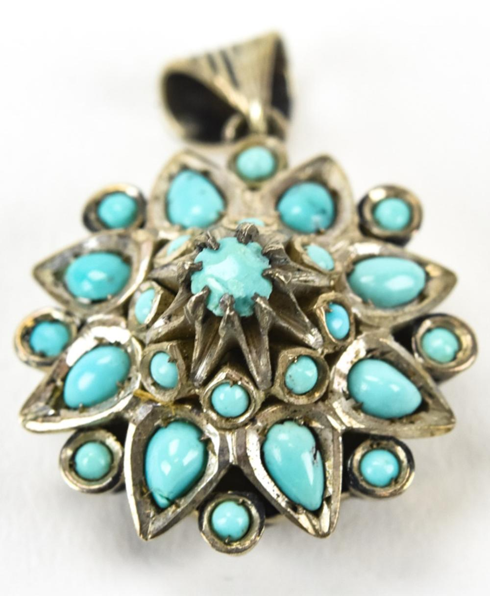 Estate Sterling Persian Turquoise Necklace Pendant