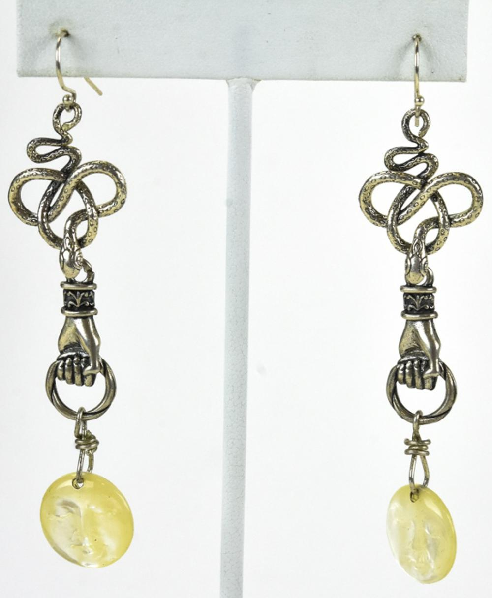 Sterling Earrings W Snakes Hands & Moon Faces