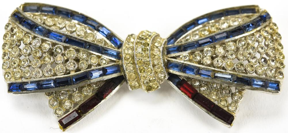 Vintage Paste & Rhinestone Bow Form Brooch Pin
