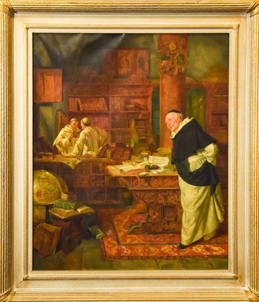 Antique German Oil Painting of Monks E Grutzner