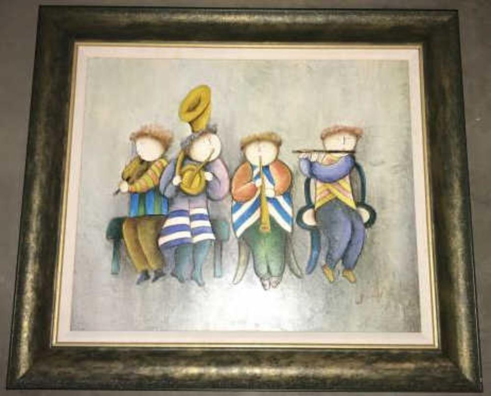 Signed Painting of Musicians by J Roybal