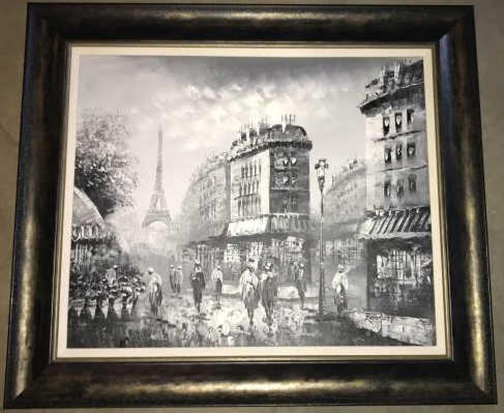 French Oil Painting Paris Scene w Eiffel Tower