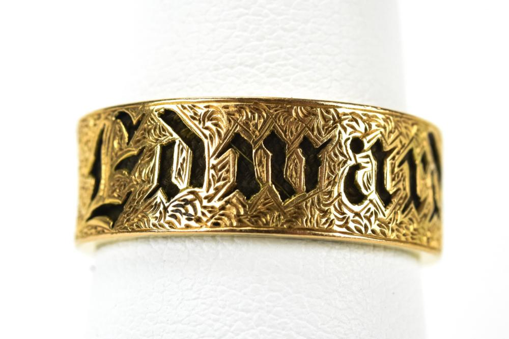 Antique 19th C 14kt Yellow Gold Mourning Ring