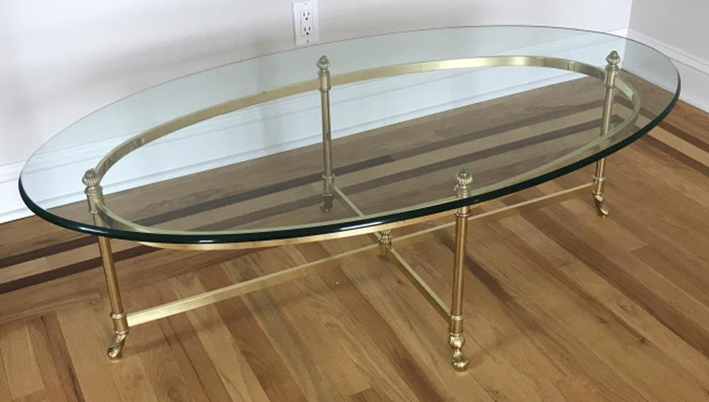 Labarge Contemporary Brass & Glass Coffee Table