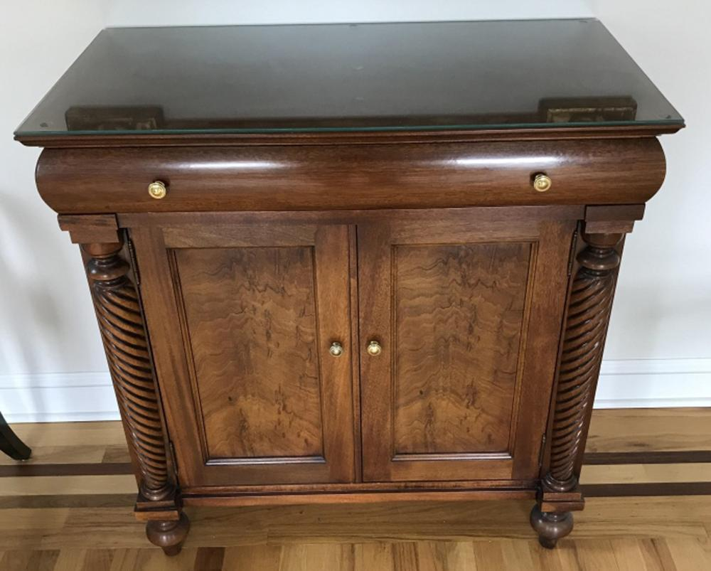Empire Style Console w Silver Drawer by Hickory
