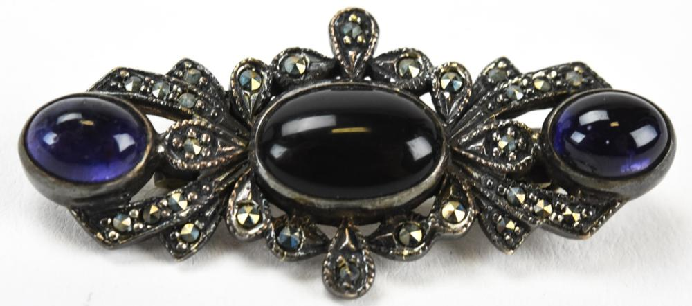 Sterling Amethyst Onyx Marcasite Brooch Pin