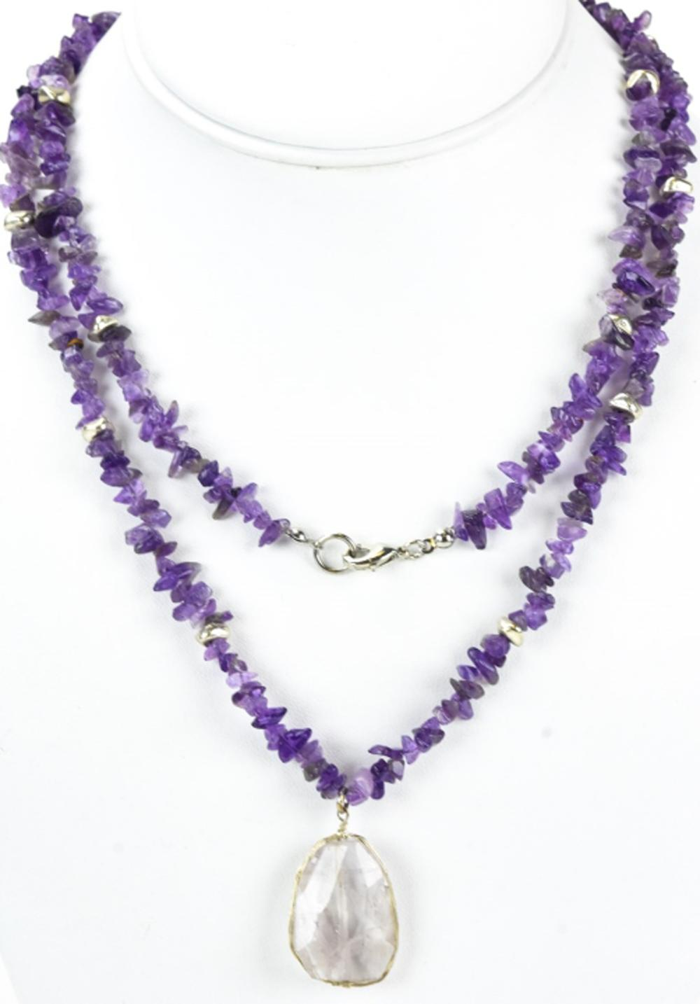 Tumbled Amethyst & Rock Crystal Beaded Necklace