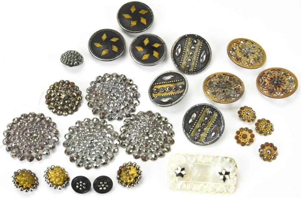 Large Collection of 19th C Cut Steel Buttons