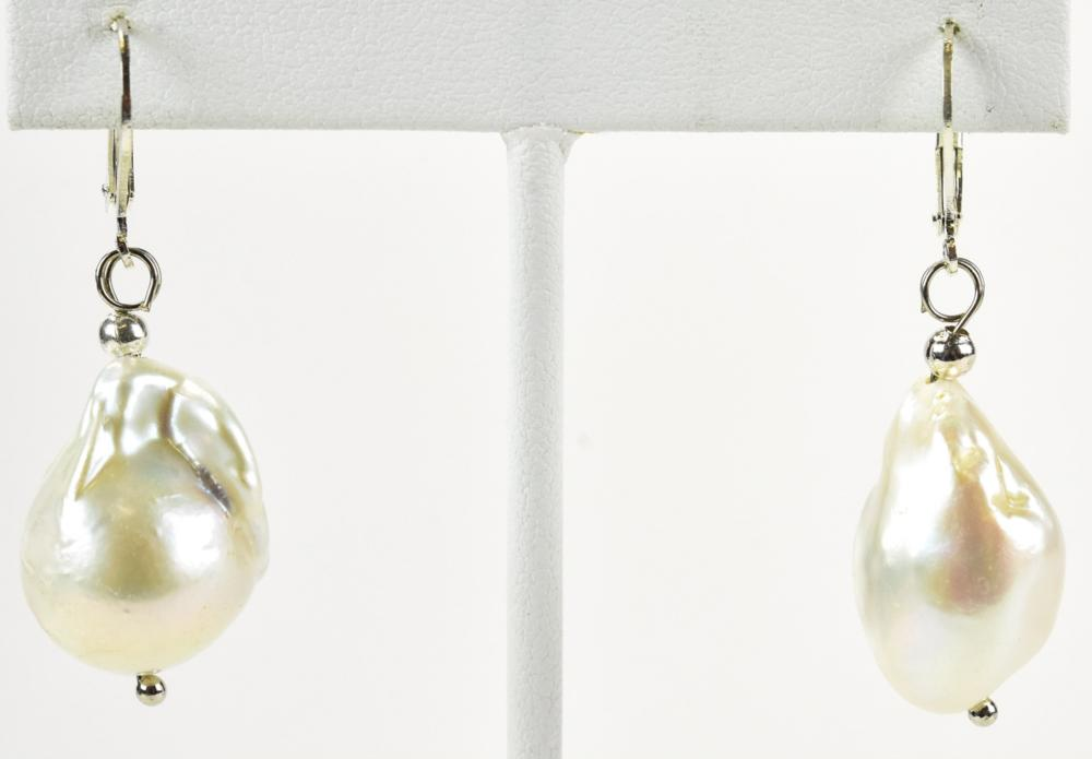Pair of Large Cultured Baroque Pearl Earrings