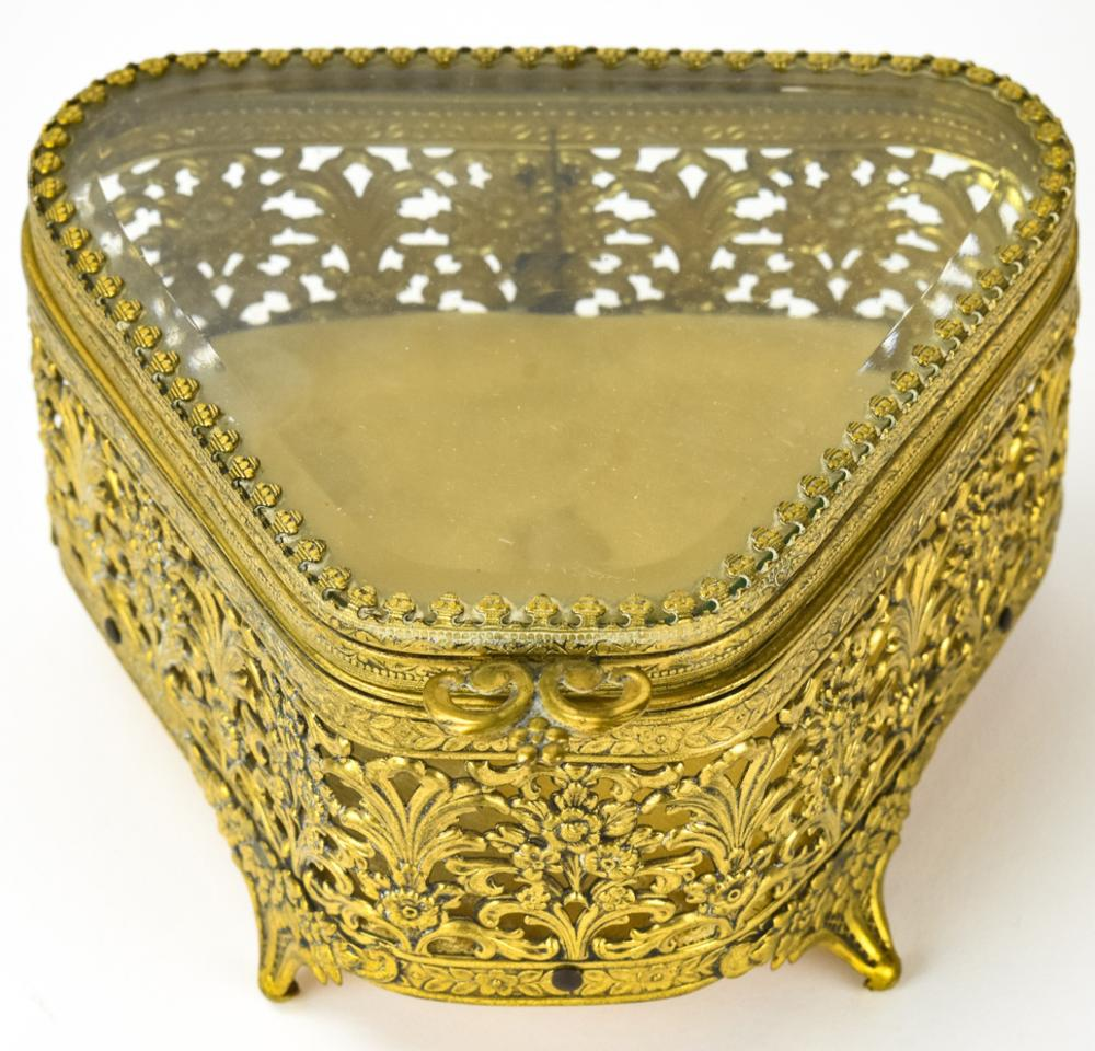 Vintage Reticulated Ormolu Beveled Glass Table Box