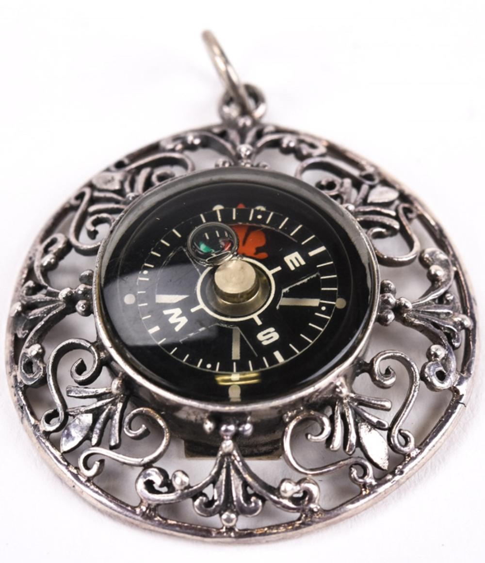 Vintage Sterling Silver Compass Necklace Pendant