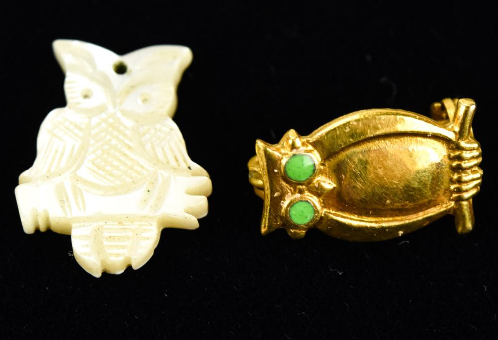 Antique Mother of Pearl Owl Pendant & Pin