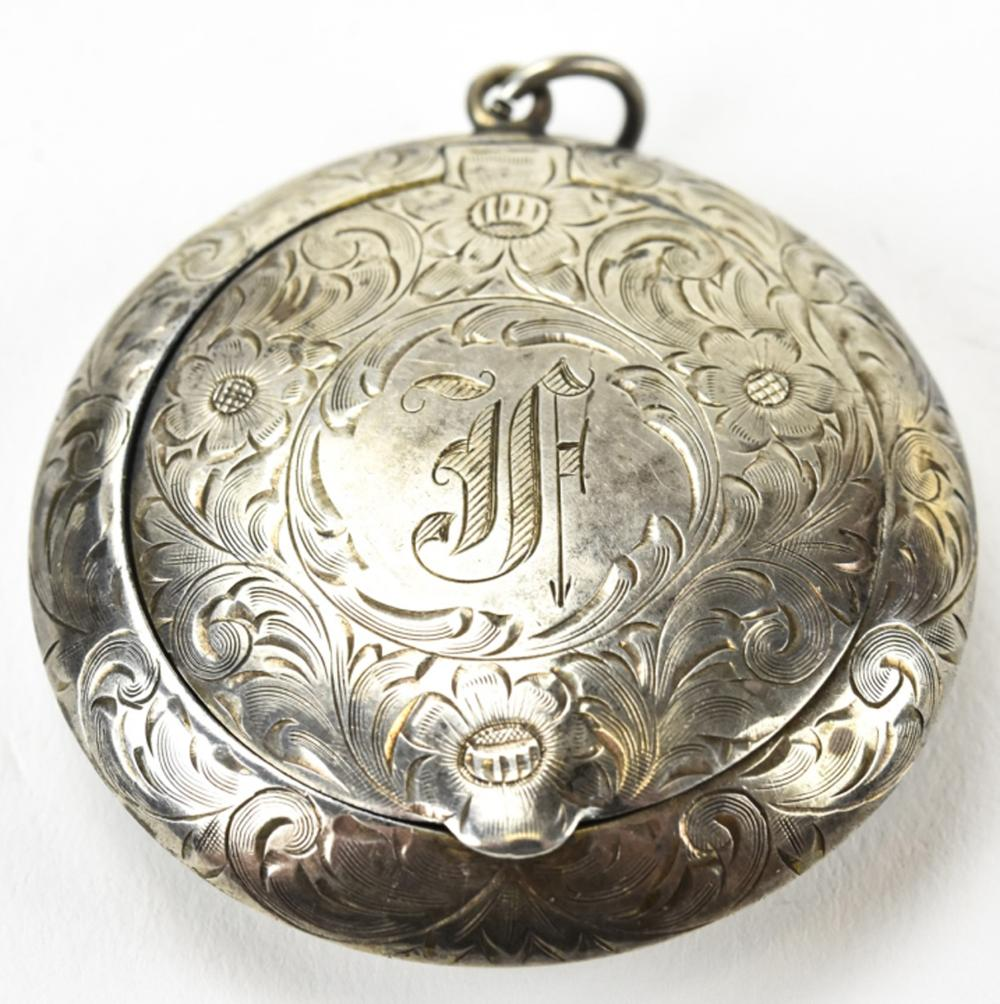 Antique Sterling Silver Pill Box Pendant
