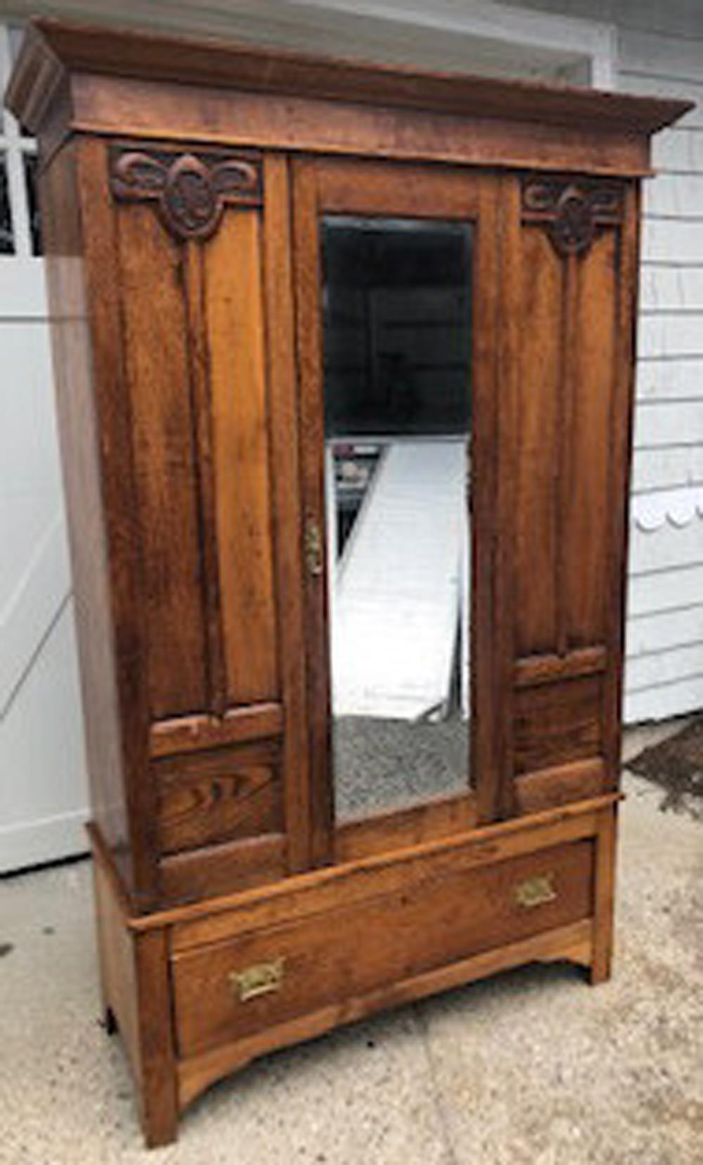 Sold Price Vintage Carved Armoire W Full Length Mirror Invalid Date Edt