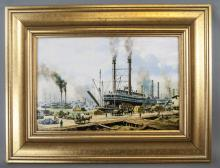 Roy Cross Canvas Print New Orleans Marine Scene