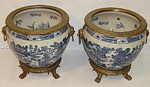 Pair of Antique Blue+White Bronze Footed Urns