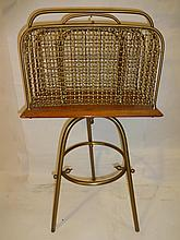 Mid-Cent. Wood and Brass Swivel-Top Magazine Rack