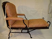 Antique Iron, Wood & Woven Cane Deck Chaise
