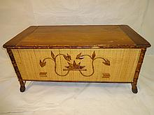Vintage Wood, Bamboo and Wicker Chest