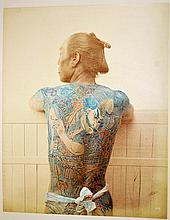 Japanese Hand-Tinted Color Photograph Tattooed Man