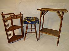 Lot of 3 Vintage Bamboo and Wood Pieces
