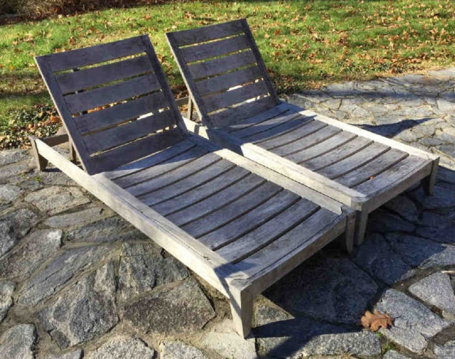 Pair restoration hardware teak pool lounge chairs for Restoration hardware teak outdoor furniture