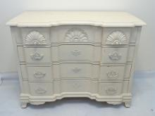 White Painted Queen Anne Style Chest of Drawers