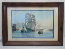 Large Nautical Print 4 Mast Schooner by M J Dawson